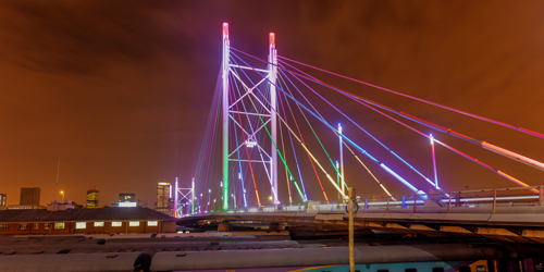 Nelson Mandela Bridge at night in Johannesburg - Fly SA Express